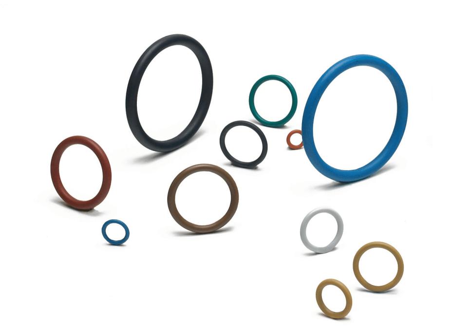 PTFE coated o-rings in white, light grey, dark grey, red, blue, yellow, light green, dark green